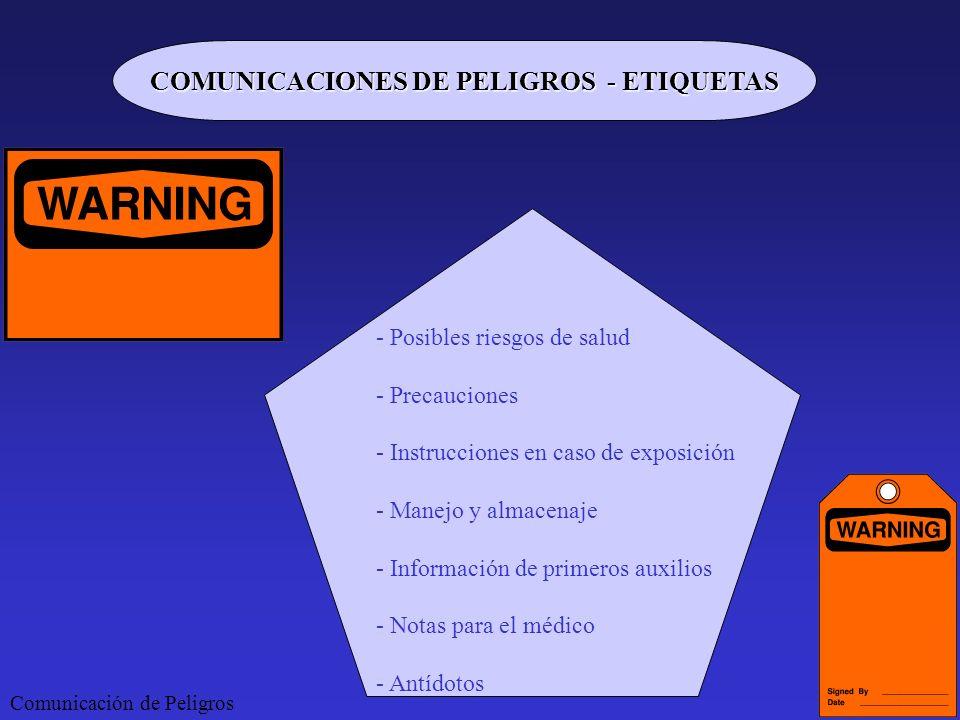 Comunicación de Peligros COMUNICACIONES DE PELIGROS - ETIQUETAS - Posibles riesgos de salud - Precauciones - Instrucciones en caso de exposición - Man