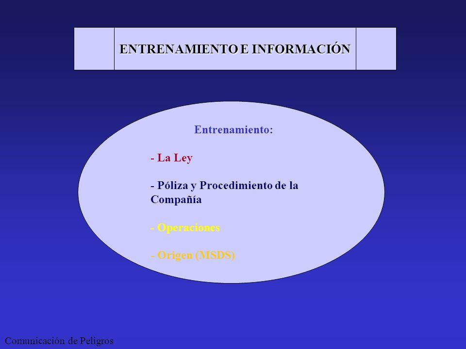 Comunicación de Peligros ENTRENAMIENTO E INFORMACIÓN Entrenamiento: - La Ley - Póliza y Procedimiento de la Compañía - Operaciones - Origen (MSDS)