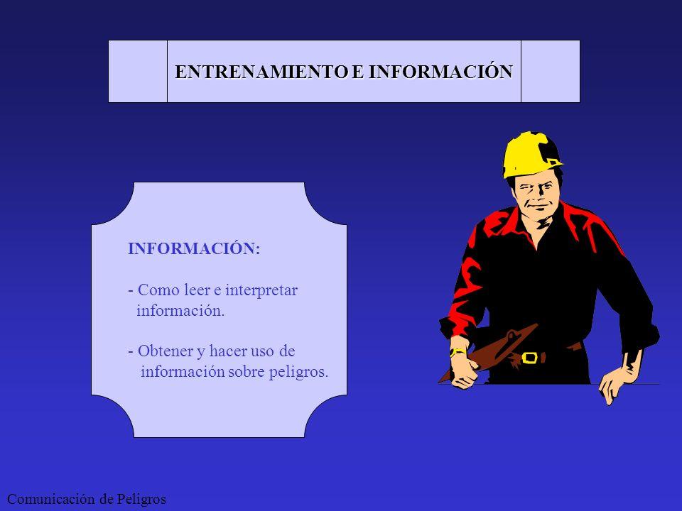 Comunicación de Peligros ENTRENAMIENTO E INFORMACIÓN INFORMACIÓN: - Como leer e interpretar información. - Obtener y hacer uso de información sobre pe
