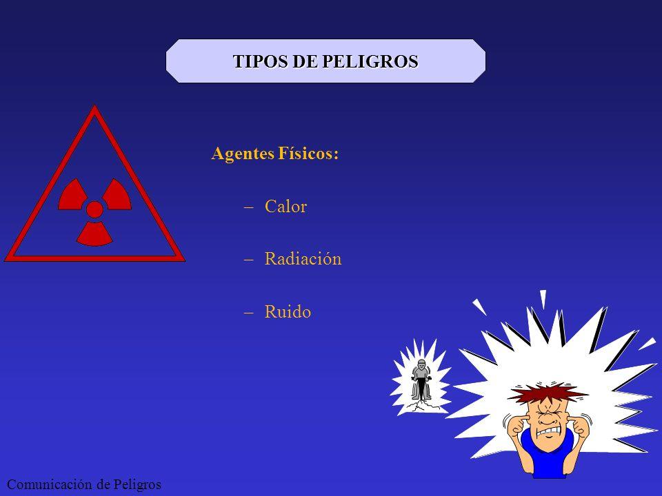 Agentes Físicos: –Calor –Radiación –Ruido Comunicación de Peligros TIPOS DE PELIGROS