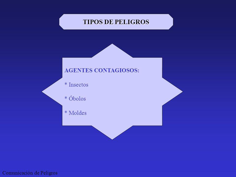 Comunicación de Peligros TIPOS DE PELIGROS AGENTES CONTAGIOSOS: * Insectos * Óbolos * Moldes
