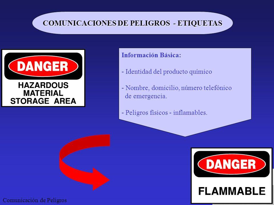 Comunicación de Peligros COMUNICACIONES DE PELIGROS - ETIQUETAS Información Básica: - Identidad del producto químico - Nombre, domicilio, número telef