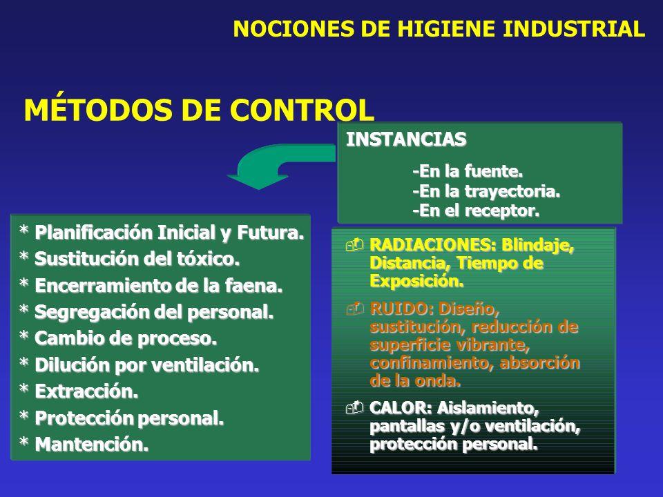 NOCIONES DE HIGIENE INDUSTRIAL * Planificación Inicial y Futura. * Sustitución del tóxico. * Encerramiento de la faena. * Segregación del personal. *