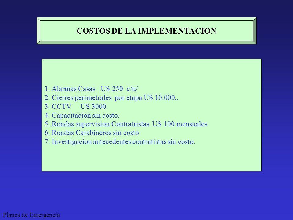 COSTOS DE LA IMPLEMENTACION 1. Alarmas Casas US 250 c/u/ 2. Cierres perimetrales por etapa US 10.000.. 3. CCTV US 3000. 4. Capacitacion sin costo. 5.