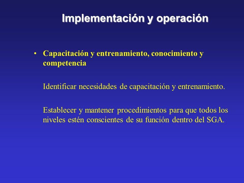 Implementación y operación Estructura y responsabilidad Se deben definir, documentar y comunicar las funciones, responsabilidades y autoridades para f