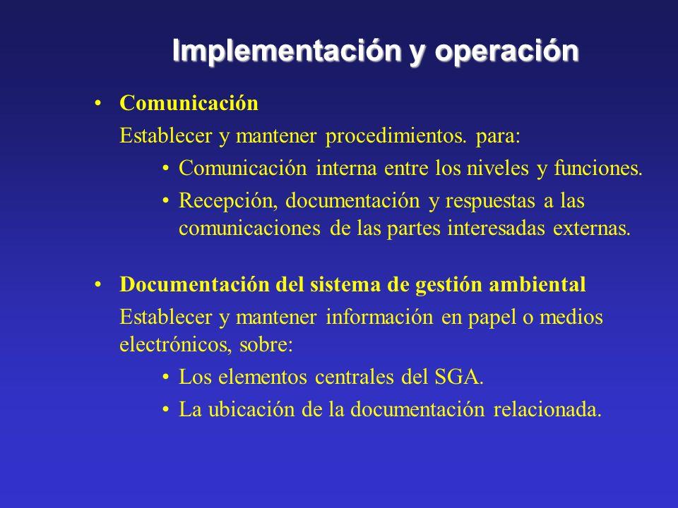 Implementación y operación Capacitación y entrenamiento, conocimiento y competencia Identificar necesidades de capacitación y entrenamiento. Establece