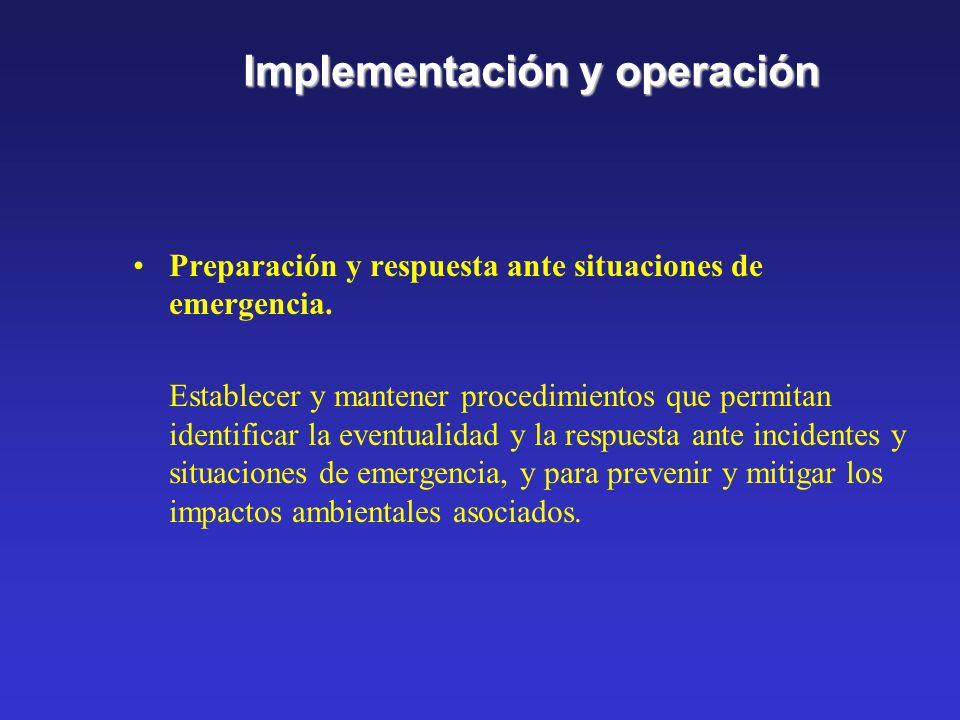 Implementación y operación Control de documentos Establecer y mantener procedimientos de control de todos los documentos. Control de operaciones Ident