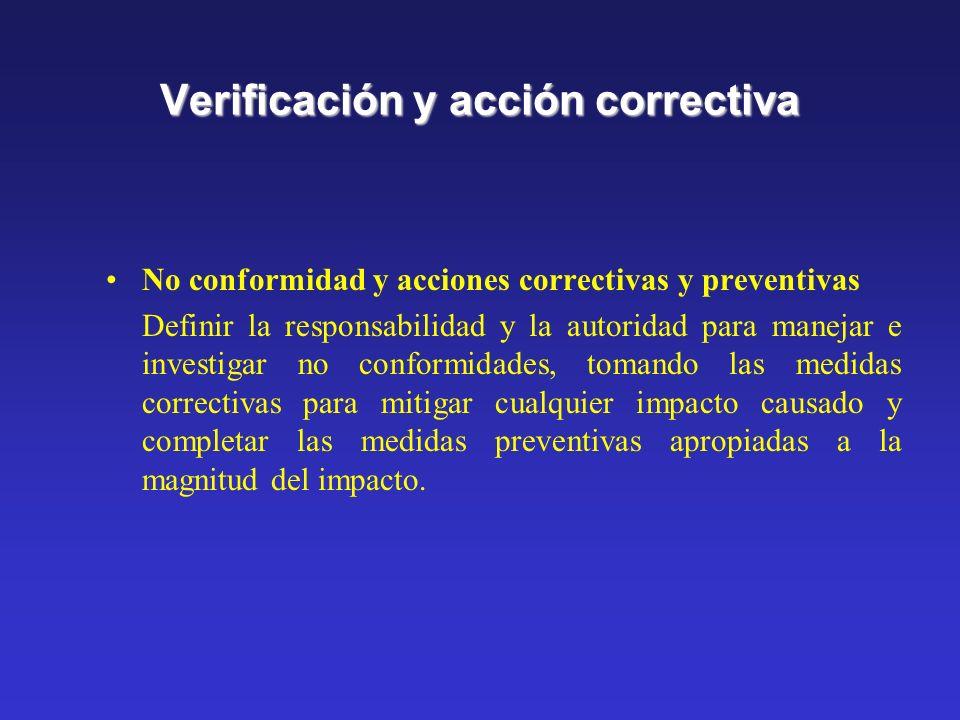 Verificación y acción correctiva Monitoreo y medición Establecer y mantener procedimientos para el monitoreo y medición regular, de las característica