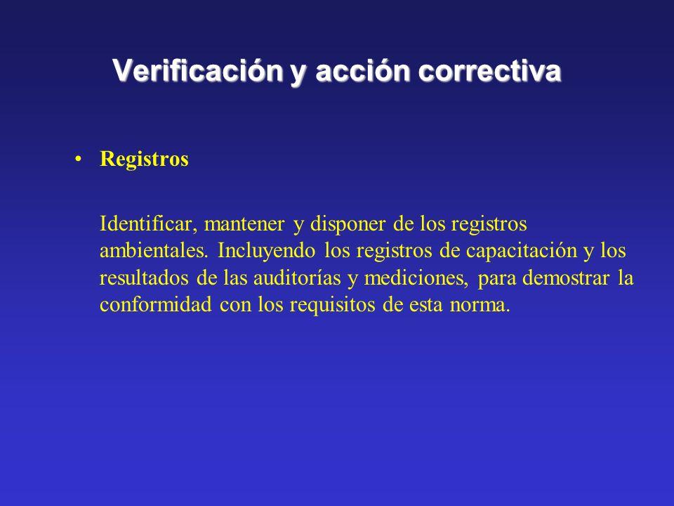 Verificación y acción correctiva No conformidad y acciones correctivas y preventivas Definir la responsabilidad y la autoridad para manejar e investig