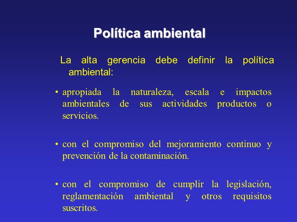 Política ambiental apropiada la naturaleza, escala e impactos ambientales de sus actividades productos o servicios.