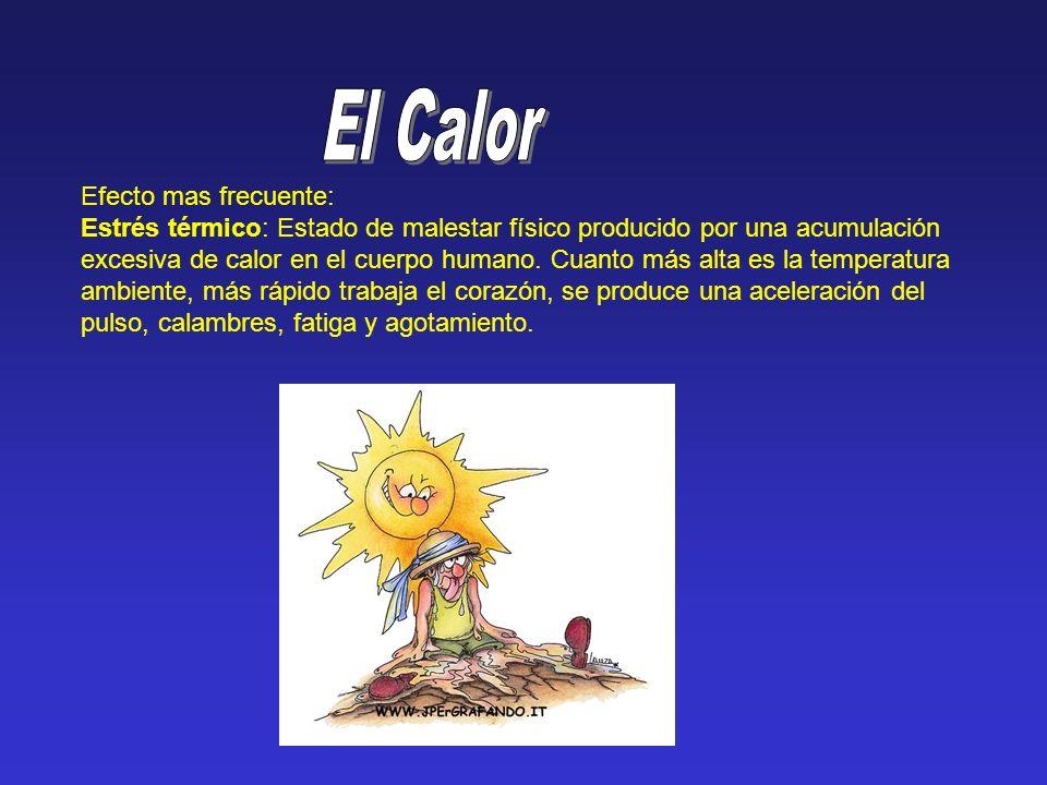 Efecto mas frecuente: Estrés térmico: Estado de malestar físico producido por una acumulación excesiva de calor en el cuerpo humano. Cuanto más alta e