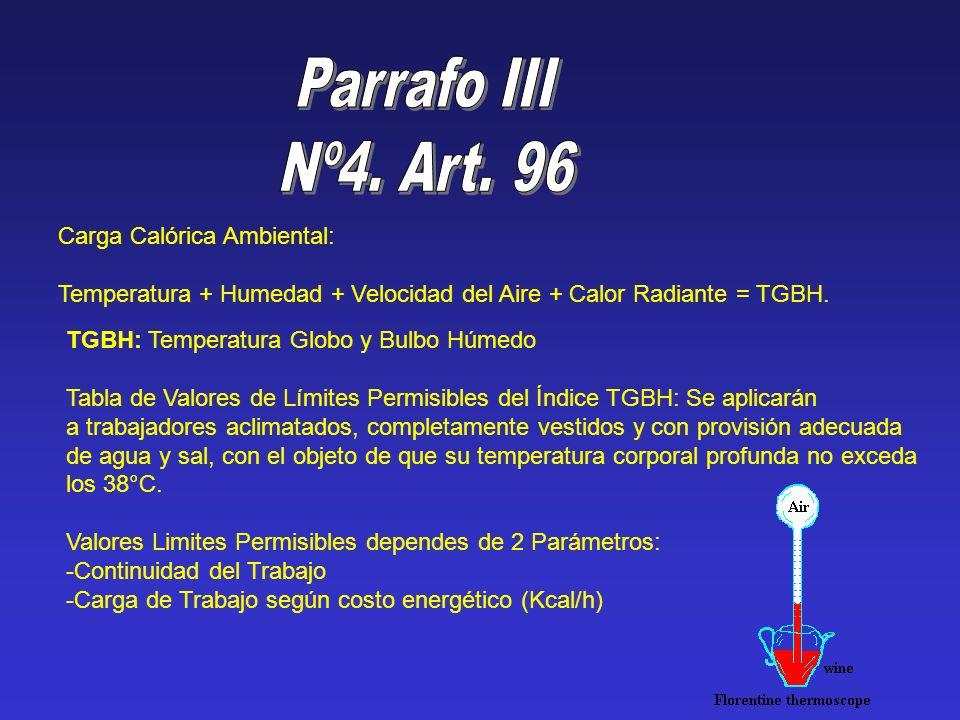 Carga Calórica Ambiental: Temperatura + Humedad + Velocidad del Aire + Calor Radiante = TGBH. TGBH: Temperatura Globo y Bulbo Húmedo Tabla de Valores