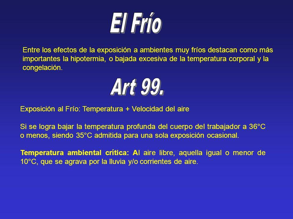 Entre los efectos de la exposición a ambientes muy fríos destacan como más importantes la hipotermia, o bajada excesiva de la temperatura corporal y l
