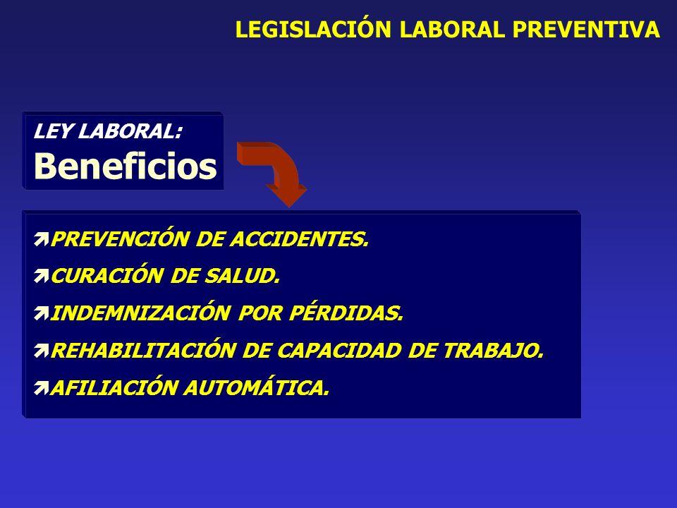 LEY LABORAL: Beneficios PREVENCIÓN DE ACCIDENTES. CURACIÓN DE SALUD.