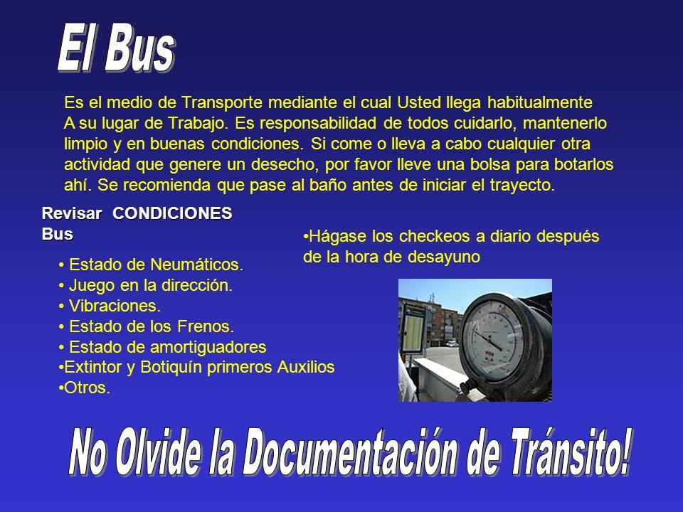 Revisar CONDICIONES Bus Estado de Neumáticos. Juego en la dirección.
