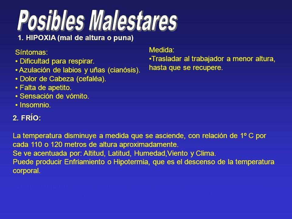 1. HIPOXIA (mal de altura o puna) Síntomas: Dificultad para respirar.