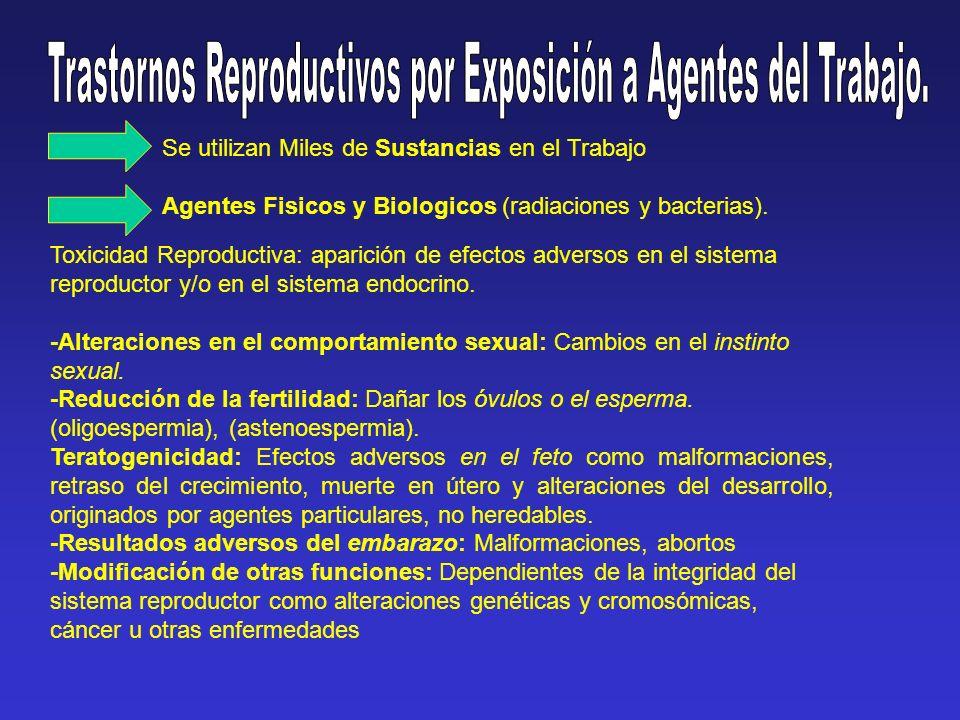 Ejemplos de Trastornos: gases anestésicos y mercurio Malformaciones fetales.