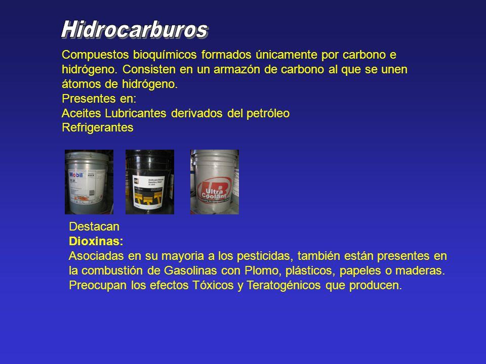 Compuestos bioquímicos formados únicamente por carbono e hidrógeno. Consisten en un armazón de carbono al que se unen átomos de hidrógeno. Presentes e