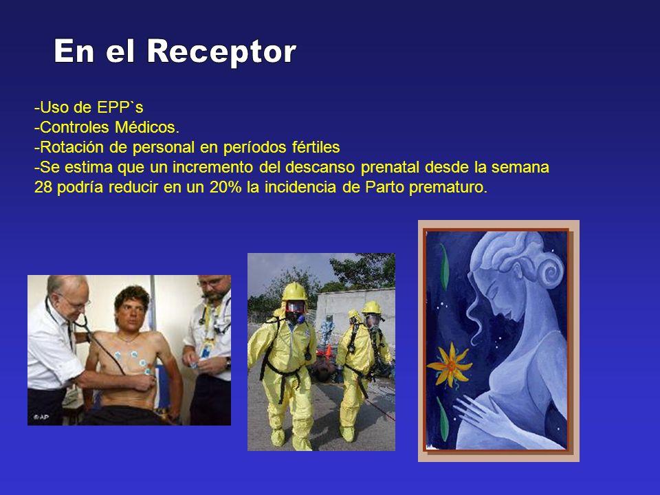 -Uso de EPP`s -Controles Médicos. -Rotación de personal en períodos fértiles -Se estima que un incremento del descanso prenatal desde la semana 28 pod