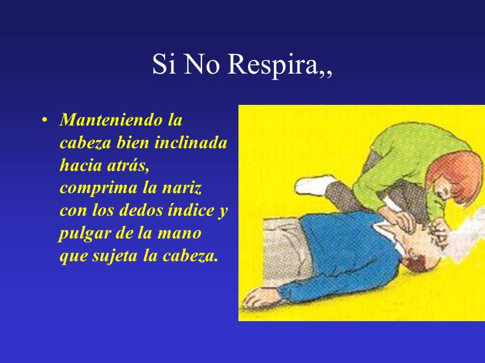 Si No Respira,, Manteniendo la cabeza bien inclinada hacia atrás, comprima la nariz con los dedos índice y pulgar de la mano que sujeta la cabeza.