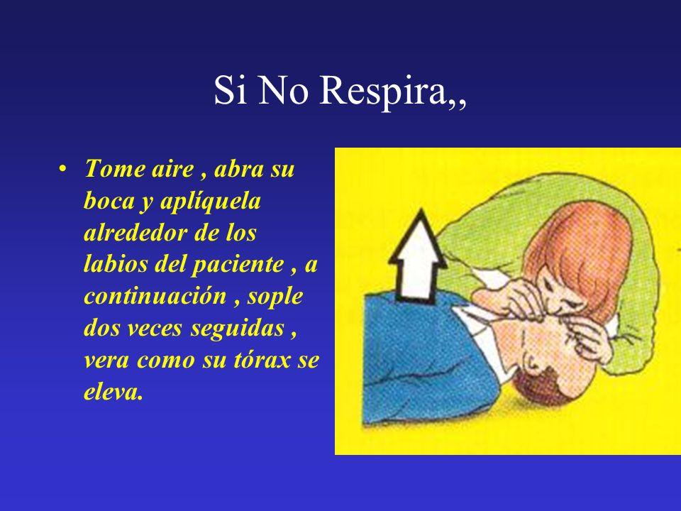 Si No Respira,, Tome aire, abra su boca y aplíquela alrededor de los labios del paciente, a continuación, sople dos veces seguidas, vera como su tórax