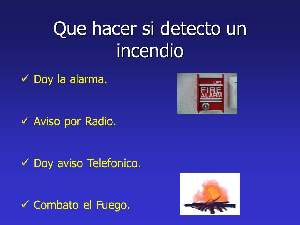 Que hacer si detecto un incendio Doy la alarma. Aviso por Radio. Doy aviso Telefonico. Combato el Fuego.