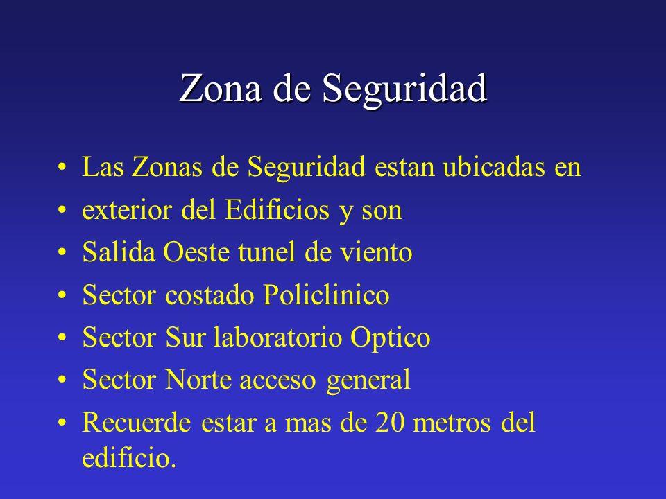 Zona de Seguridad Las Zonas de Seguridad estan ubicadas en exterior del Edificios y son Salida Oeste tunel de viento Sector costado Policlinico Sector