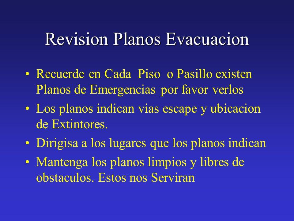 Revision Planos Evacuacion Recuerde en Cada Piso o Pasillo existen Planos de Emergencias por favor verlos Los planos indican vias escape y ubicacion d