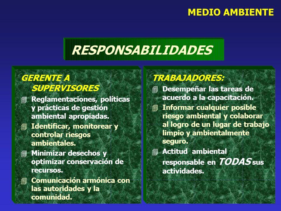 MEDIO AMBIENTE RESPONSABILIDADES GERENTE A SUPERVISORES 4Reglamentaciones, políticas y prácticas de gestión ambiental apropiadas. 4Identificar, monito