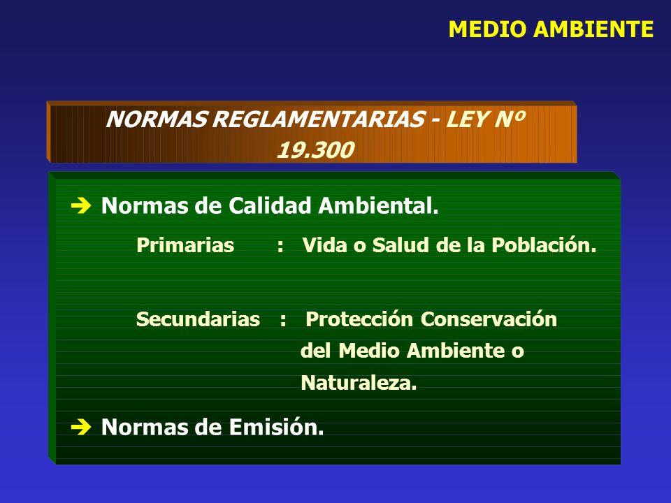 MEDIO AMBIENTE NORMAS REGLAMENTARIAS - LEY Nº 19.300 Normas de Calidad Ambiental. Primarias : Vida o Salud de la Población. Secundarias : Protección C