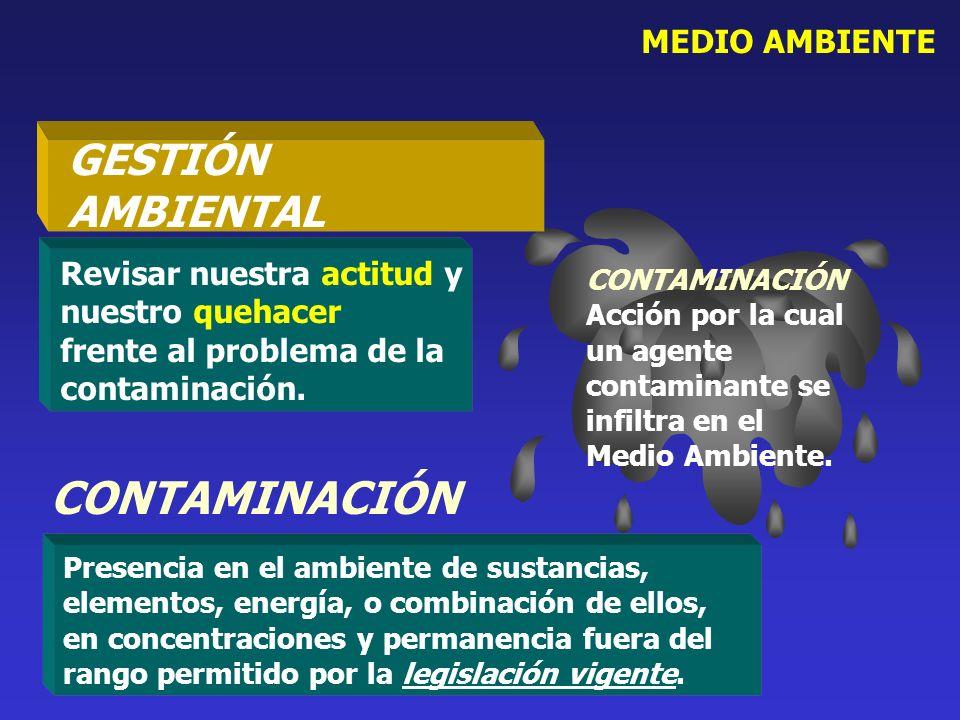 MEDIO AMBIENTE Presencia en el ambiente de sustancias, elementos, energía, o combinación de ellos, en concentraciones y permanencia fuera del rango pe