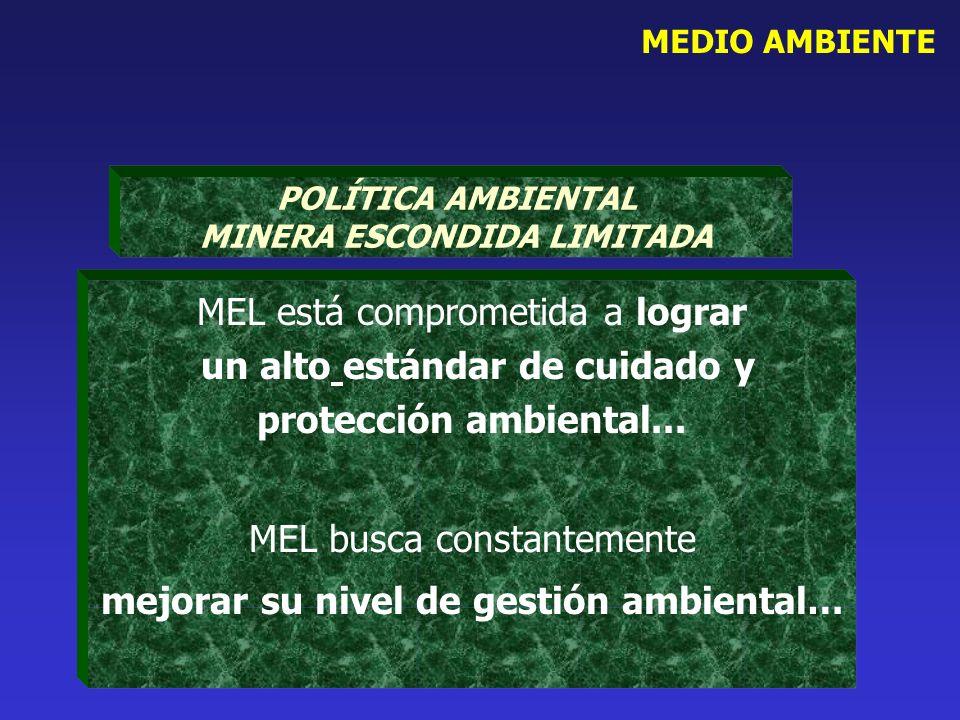 MEDIO AMBIENTE MEL está comprometida a lograr un alto estándar de cuidado y protección ambiental... MEL busca constantemente mejorar su nivel de gesti