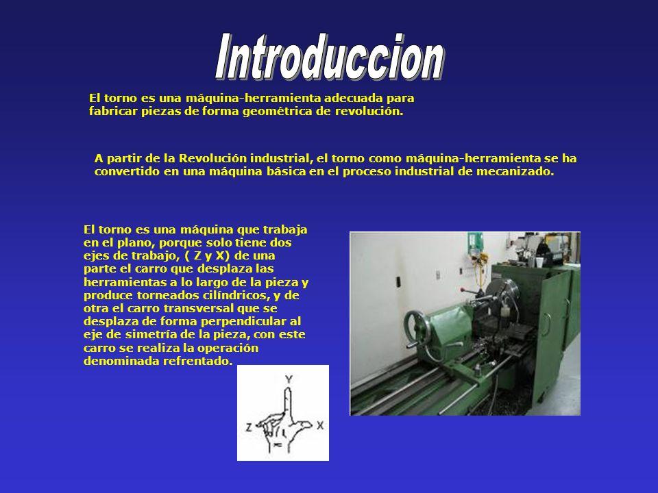 El torno es una máquina-herramienta adecuada para fabricar piezas de forma geométrica de revolución. A partir de la Revolución industrial, el torno co