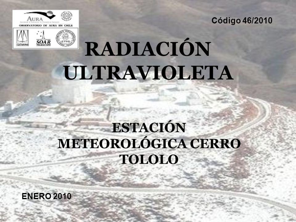 RADIACIÓN ULTRAVIOLETA ESTACIÓN METEOROLÓGICA CERRO TOLOLO ENERO 2010 Código 46/2010