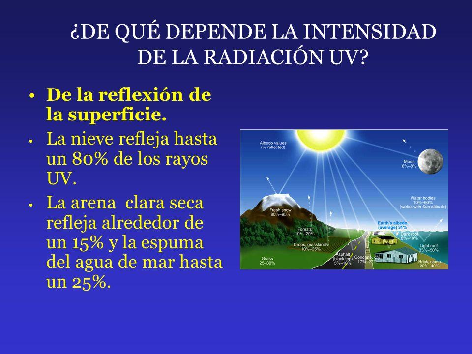 ¿DE QUÉ DEPENDE LA INTENSIDAD DE LA RADIACIÓN UV? De la reflexión de la superficie. La nieve refleja hasta un 80% de los rayos UV. La arena clara seca