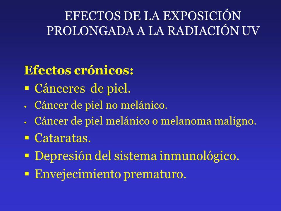 EFECTOS DE LA EXPOSICIÓN PROLONGADA A LA RADIACIÓN UV Efectos crónicos: Cánceres de piel. Cáncer de piel no melánico. Cáncer de piel melánico o melano