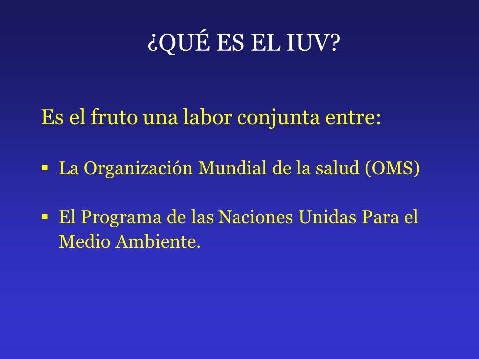 ¿QUÉ ES EL IUV? Es el fruto una labor conjunta entre: La Organización Mundial de la salud (OMS) El Programa de las Naciones Unidas Para el Medio Ambie
