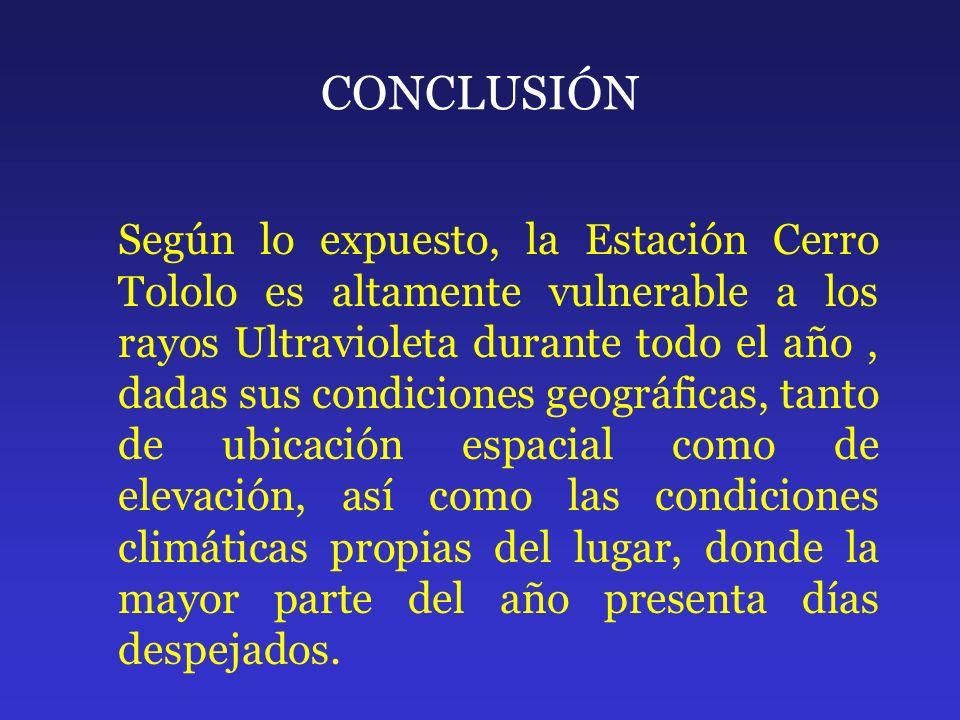 CONCLUSIÓN Según lo expuesto, la Estación Cerro Tololo es altamente vulnerable a los rayos Ultravioleta durante todo el año, dadas sus condiciones geo