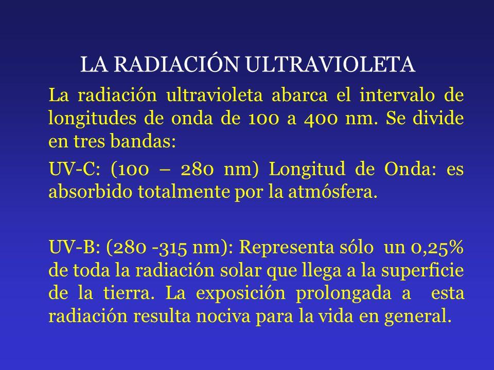LA RADIACIÓN ULTRAVIOLETA La radiación ultravioleta abarca el intervalo de longitudes de onda de 100 a 400 nm. Se divide en tres bandas: UV-C: (100 –