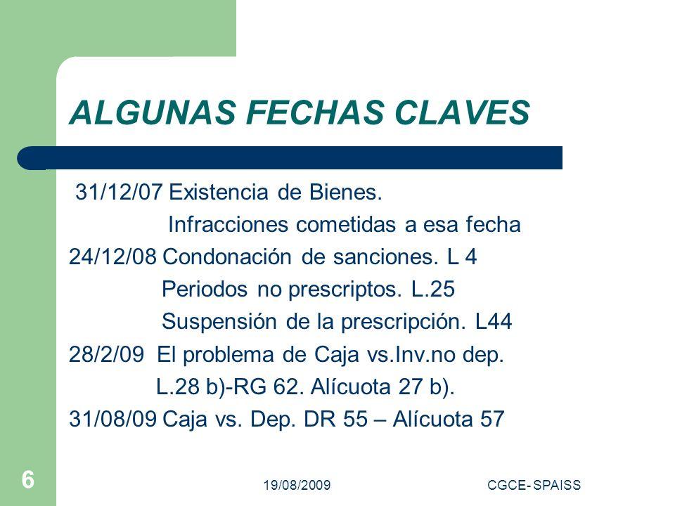19/08/2009CGCE- SPAISS 7 LA IMPUTACION – TEMA CLAVE Ley art.