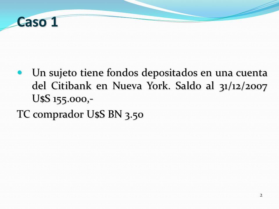 Caso 1 Un sujeto tiene fondos depositados en una cuenta del Citibank en Nueva York. Saldo al 31/12/2007 U$S 155.000,- Un sujeto tiene fondos depositad