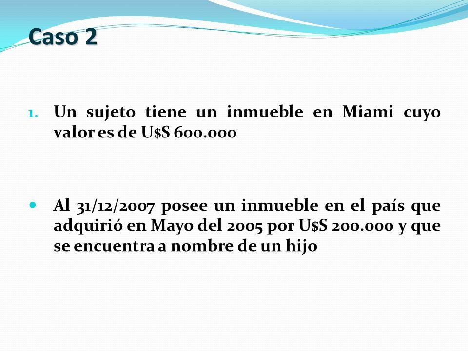 1. Un sujeto tiene un inmueble en Miami cuyo valor es de U$S 600.000 Al 31/12/2007 posee un inmueble en el país que adquirió en Mayo del 2005 por U$S
