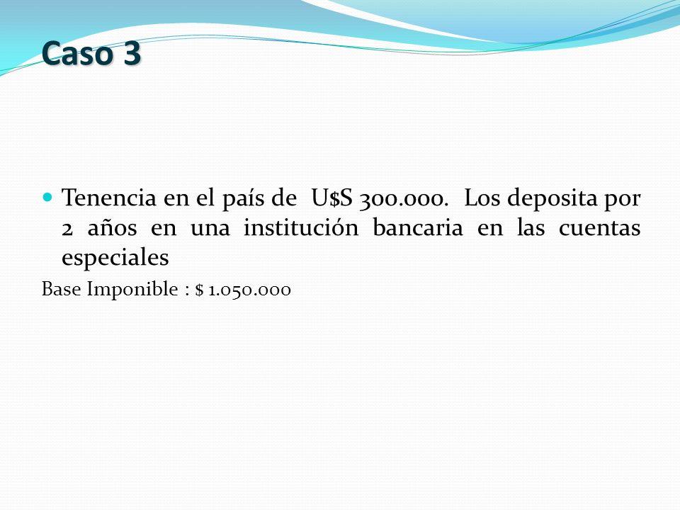 Tenencia en el país de U$S 300.000. Los deposita por 2 años en una institución bancaria en las cuentas especiales Base Imponible : $ 1.050.000 Caso 3