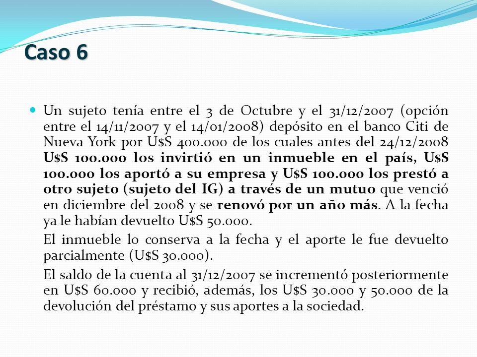 Un sujeto tenía entre el 3 de Octubre y el 31/12/2007 (opción entre el 14/11/2007 y el 14/01/2008) depósito en el banco Citi de Nueva York por U$S 400