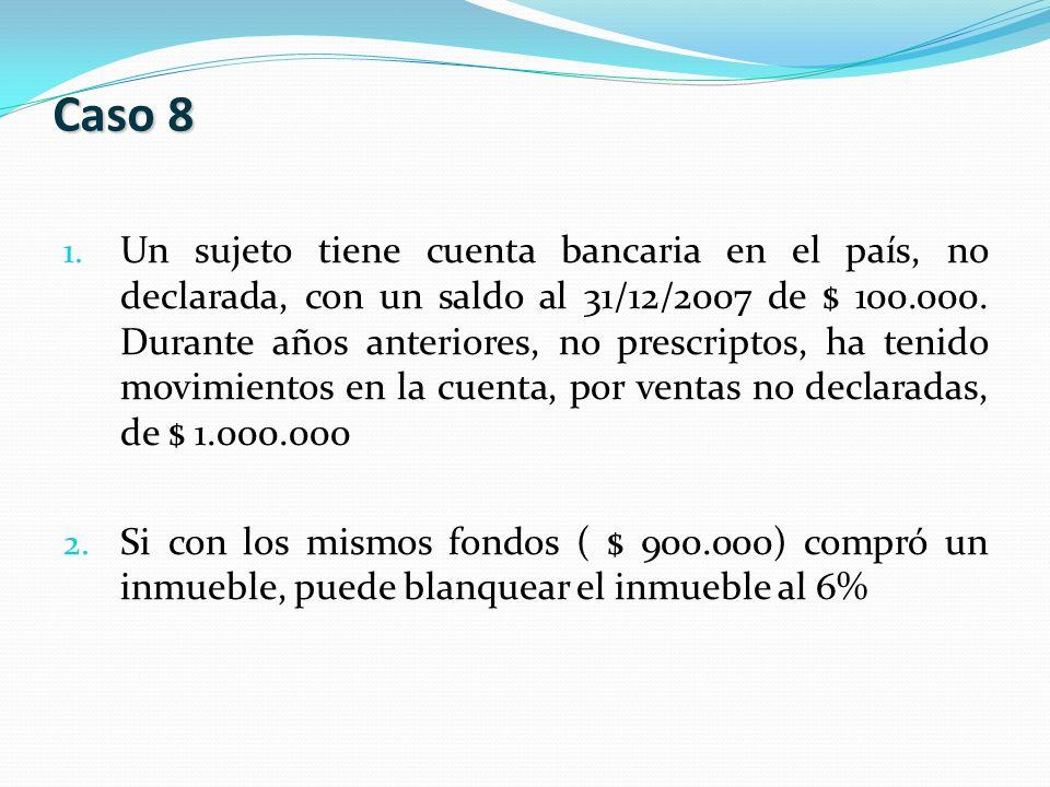 1. Un sujeto tiene cuenta bancaria en el país, no declarada, con un saldo al 31/12/2007 de $ 100.000. Durante años anteriores, no prescriptos, ha teni