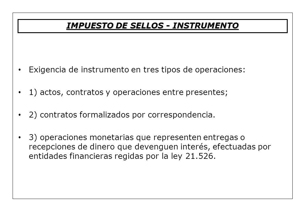 Exigencia de instrumento en tres tipos de operaciones: 1) actos, contratos y operaciones entre presentes; 2) contratos formalizados por correspondenci