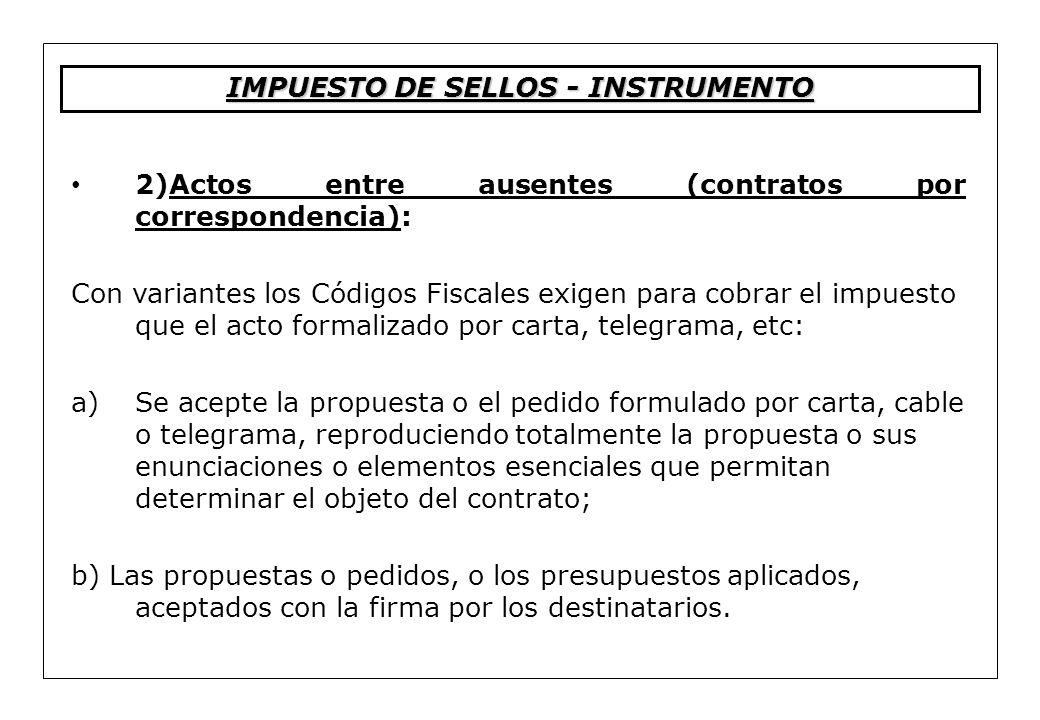2)Actos entre ausentes (contratos por correspondencia): Con variantes los Códigos Fiscales exigen para cobrar el impuesto que el acto formalizado por
