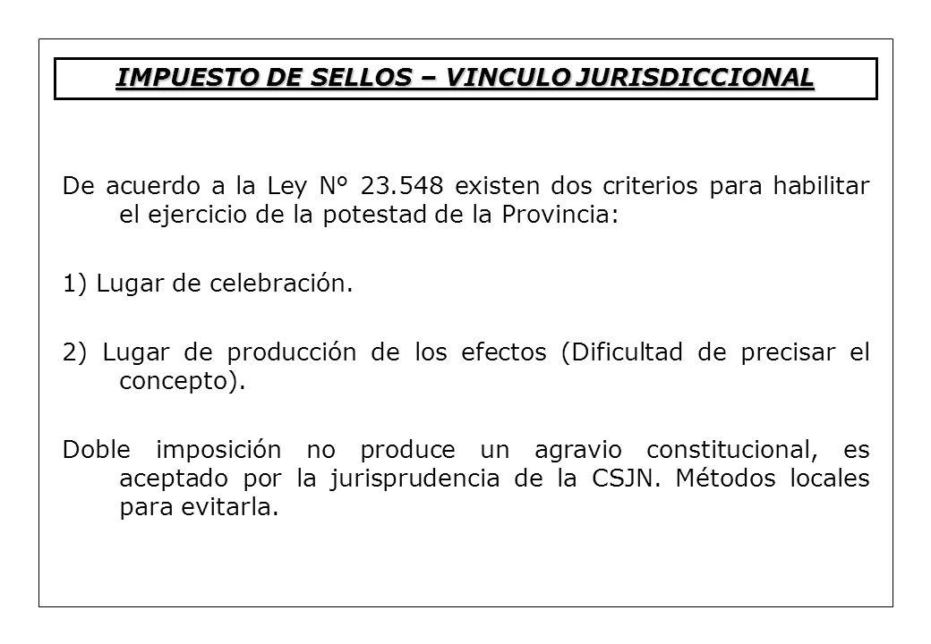 De acuerdo a la Ley N° 23.548 existen dos criterios para habilitar el ejercicio de la potestad de la Provincia: 1) Lugar de celebración. 2) Lugar de p