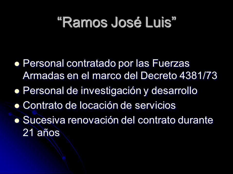 Ramos José Luis Personal contratado por las Fuerzas Armadas en el marco del Decreto 4381/73 Personal contratado por las Fuerzas Armadas en el marco del Decreto 4381/73 Personal de investigación y desarrollo Personal de investigación y desarrollo Contrato de locación de servicios Contrato de locación de servicios Sucesiva renovación del contrato durante 21 años Sucesiva renovación del contrato durante 21 años