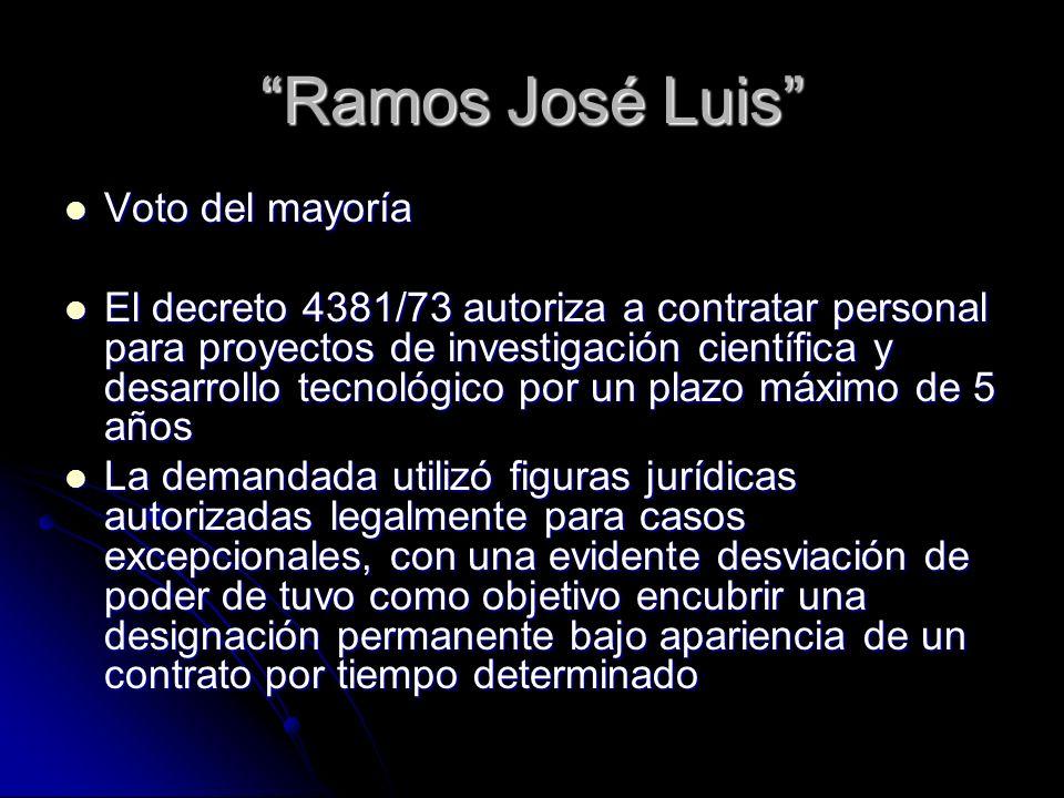 Ramos José Luis Voto del mayoría Voto del mayoría El decreto 4381/73 autoriza a contratar personal para proyectos de investigación científica y desarr